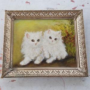 Vintage kitten painting